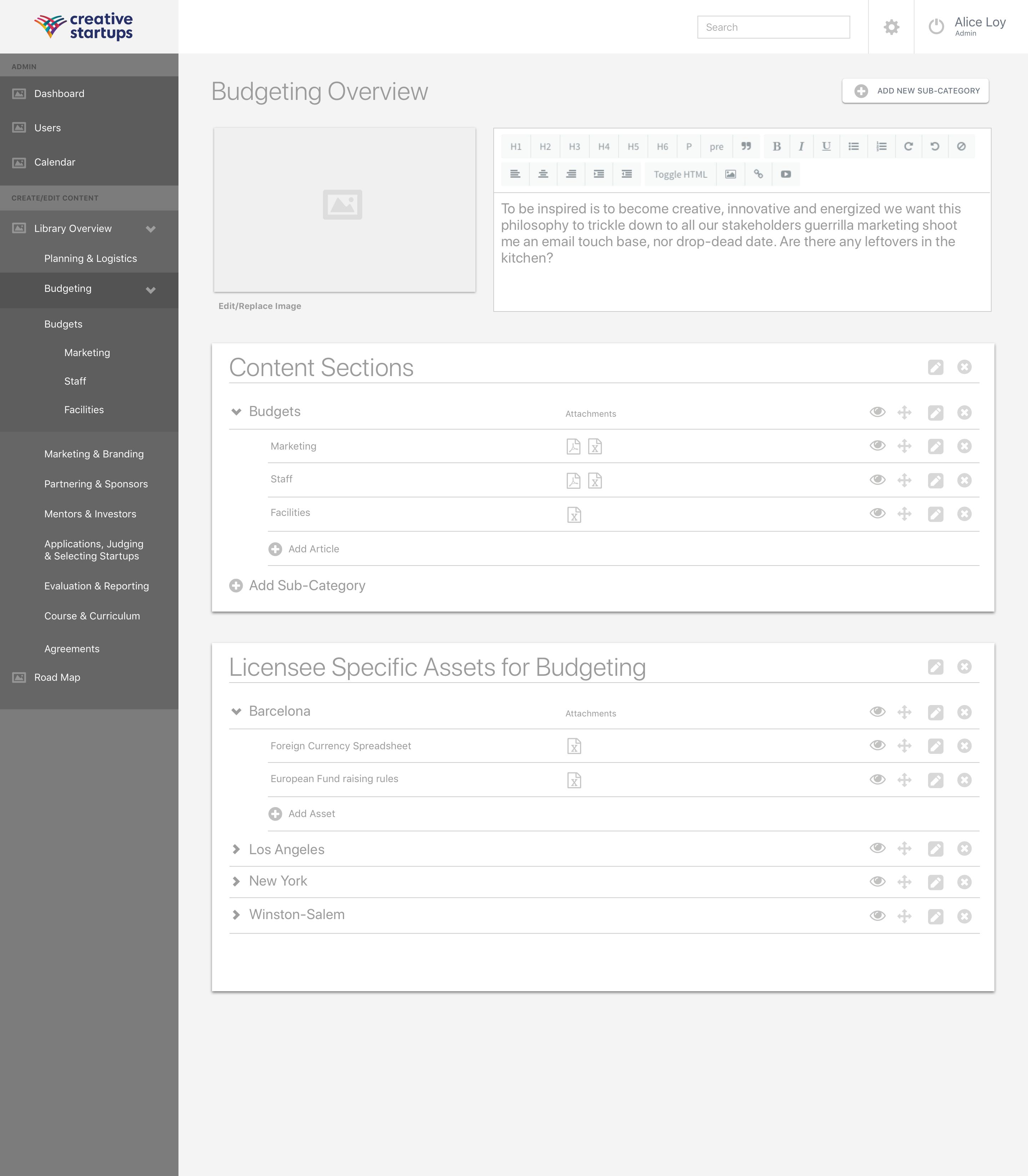 0.4 CS Master Admin - Budgeting Main