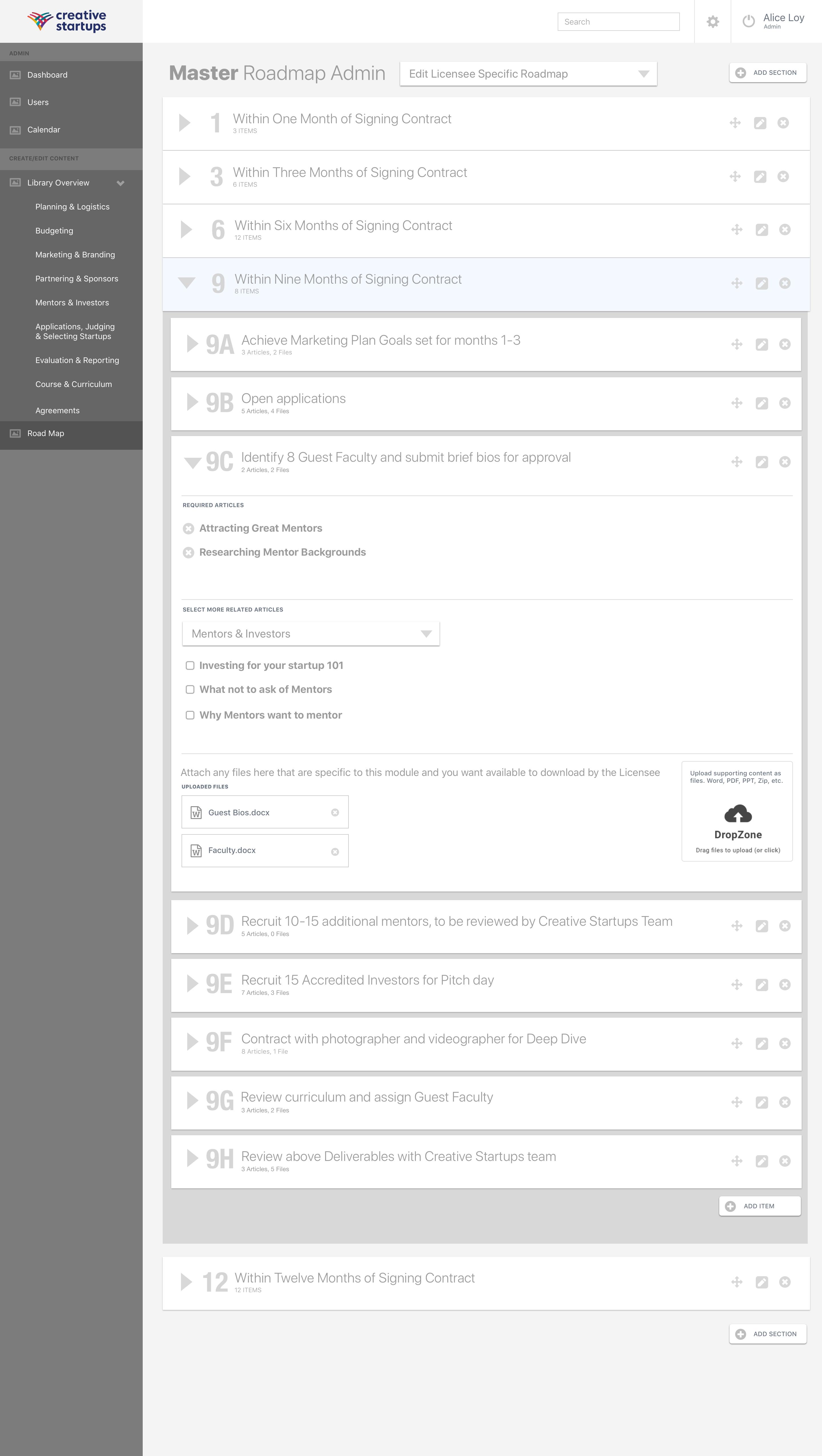 0.5 CS Master Admin - Roadmap Admin