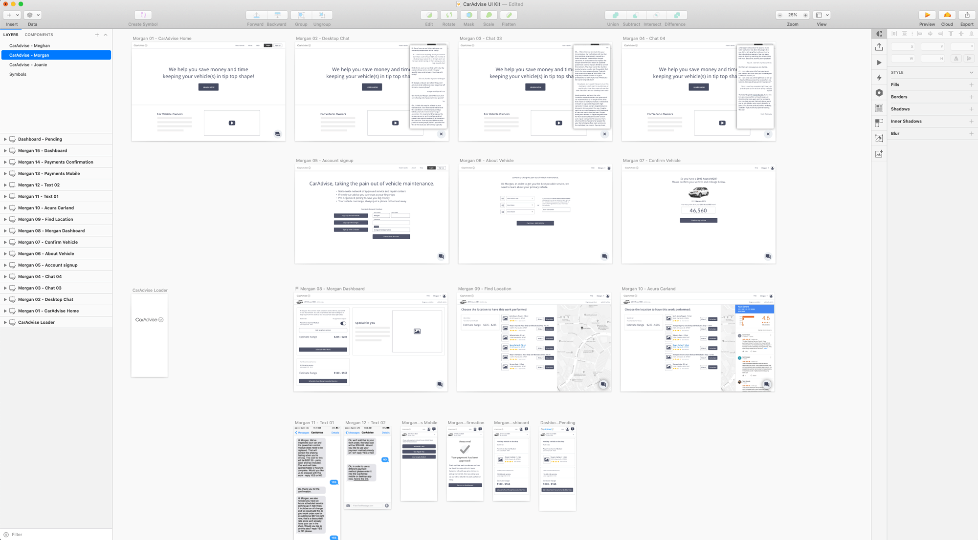 CarAdvise wireframes in Sketch