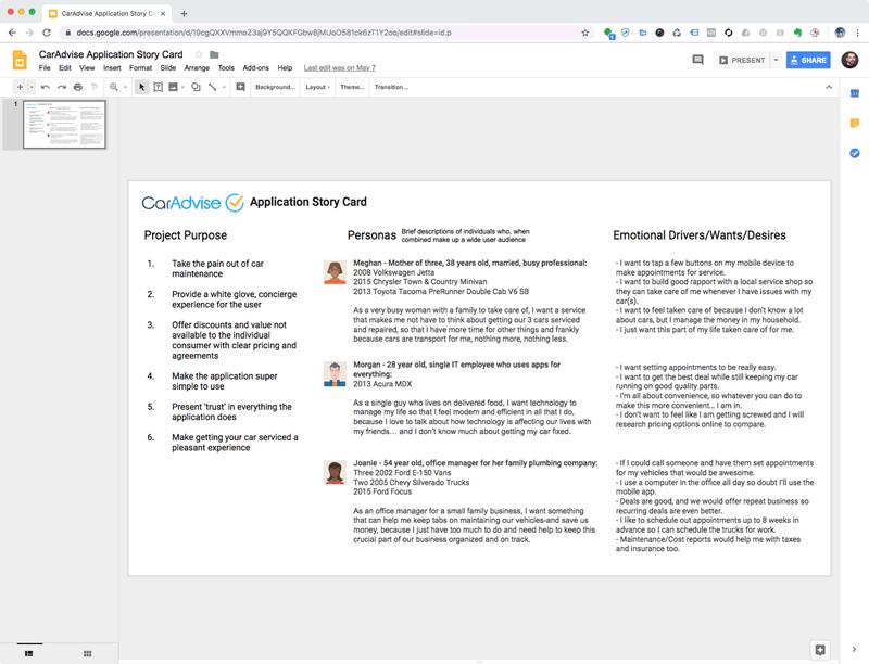 CarAdvise User Scenarios